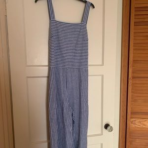 Striped blue and white linen jumpsuit (NWT)